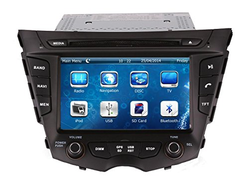 XTTEK 7 inch Touch Screen in Dash Car GPS Navigation System for Hyundai Veloster 2012 2013 2014 2015 2016 DVD Player+Bluetooth SWC+Backup Camera+North America Map