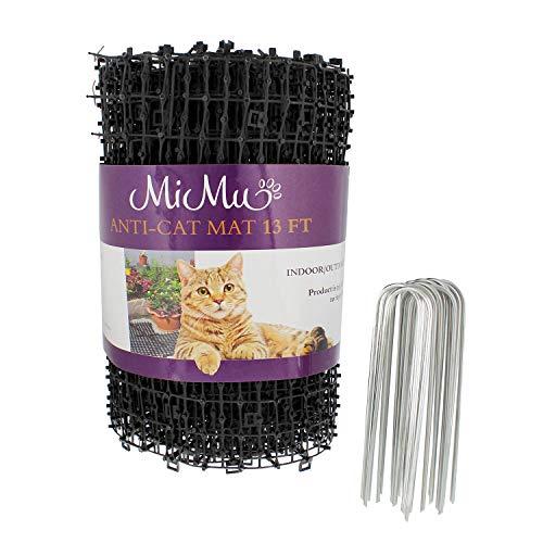 MiMu Dog & Cat Deterrent Mat Outdoor & Indoor Cat Scat Spike Mat Cat Repellent Spikes - 13 Foot x 11 Inch Roll, Black
