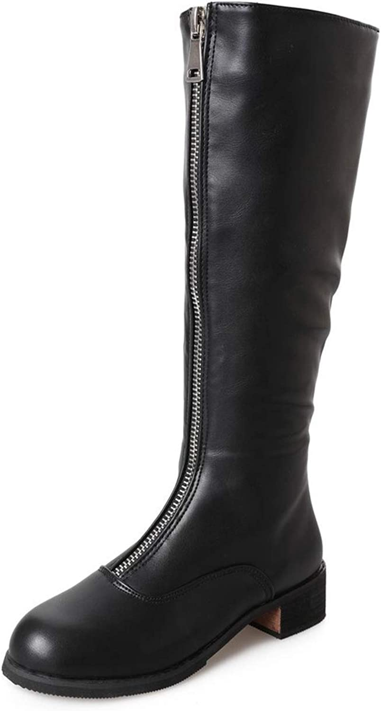 Smart.A 2018 Autumn Women's Knee Zip High Heel Boots
