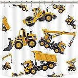 Riyidecor Construction Truck Shower Curtain Boys Excavator Cartoon Yellow Kids Machinery Bathroom Home Decor Set Waterproof Polyester 72Wx72H Inch 12 Pack Plastic Hooks