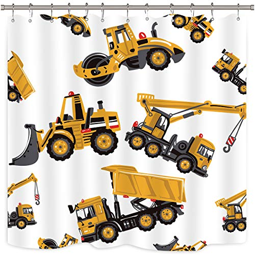 Riyidecor Construction Truck Shower Curtain Excavator...