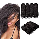 4 paquetes de extensiones de cabello trenzado Afro Kinky, 18 pulgadas Twist Hair Crochet Afro Marley Kinky Extensiones de cabello rizado Cabello sintético (4# / Marrón oscuro)