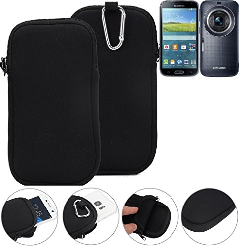 K-S-Trade Neopren Hülle Kompatibel Mit Samsung Galaxy K Zoom LTE Schutzhülle Neoprenhülle Sleeve Handyhülle Schutz Hülle Handy Gürtel Tasche Case Holster Handytasche Schwarz