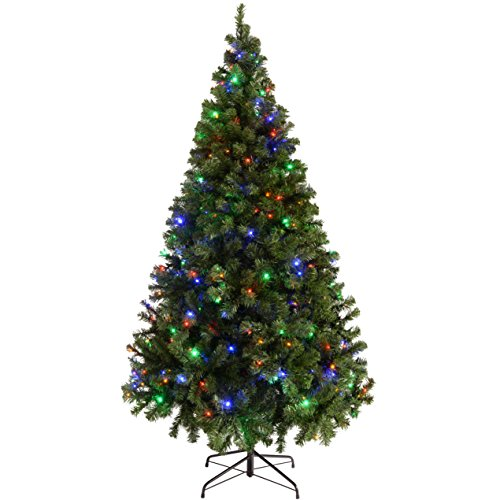 WeRChristmas Pre-Lit Spruce Multi-Function Christmas Tree, 1.8 m - 6 feet with 200-LED, Multi-Colour
