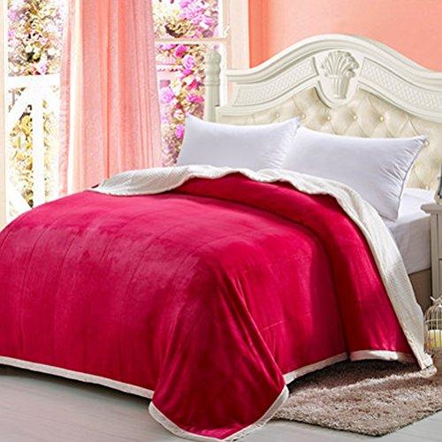 LUYIASI- Double couverture de flanelle épaisse unique solide couleur couverture hiver Coral mariage double couverture blanket (Couleur : Rouge, taille : 200x230cm)