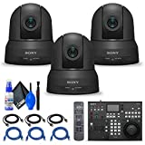 3 x Sony SRG-X400 1080p PTZ Camera with HDMI, IP & 3G-SDI Output (SRGX400) + Sony RM-IP500/1 Professional Remote Controller + 3 x Ethernet Cable + Cleaning Set + 3 x HDMI Cable - Bundle