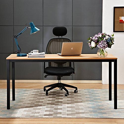 sogesfurniture Escritorios Mesa de Ordenador 160x60cm Grande Escritorios para Computadora Escritorio de Oficina Mesa de Estudio Mesa de Trabajo de Madera y Acero, Teca&Negro BHEU-AC3BB-160