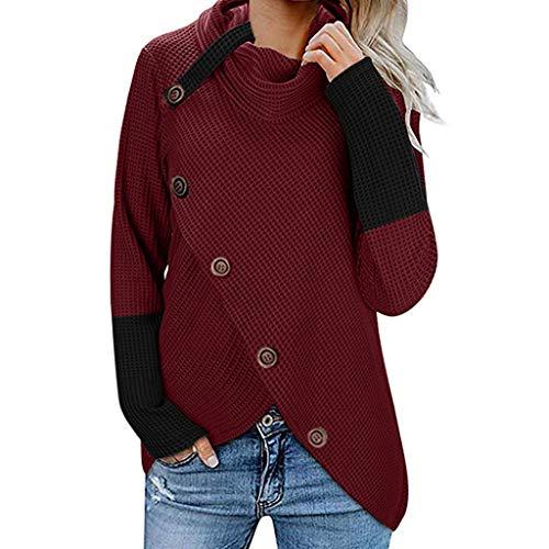 FRAUIT Damen Strickjacke Rollkragen Pullover Gefüttert Cardigan Zopfmuster V-Ausschnitt Hoodies Frauen Knopf Langarm Sweater Sweatshirt Tops Bluse Shirt Weich Bequem Kleidung S-5XL (XL, U-Wein)