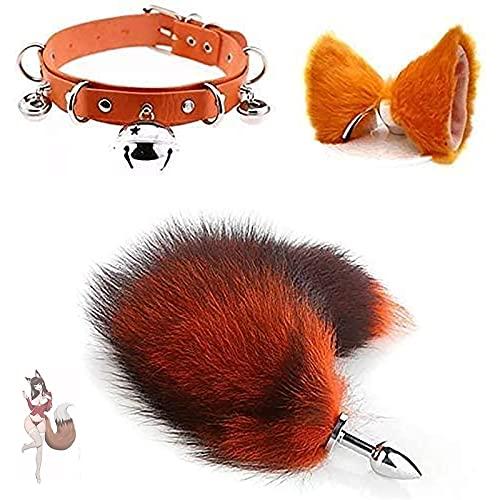 Fox Tail Plush for Women Lover Gift Cosplay Set Anàlès Pl'ùgs Kit Fluffy and Soft Bûtt Àlàl Plùg with Ears Bell Collar Cosplay for Beginner Women Men 8S68-I-