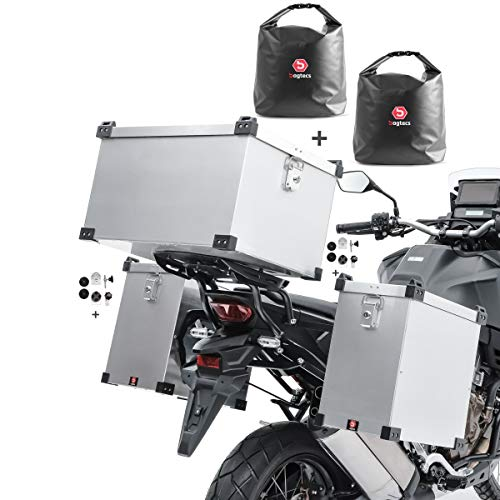 Bagtecs Set aluminium panniers Namib 35-40L + top box 60l + inner bags +fixation kit