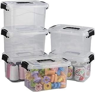 Ramddy Poubelles en Plastique Transparent avec Couvercle, boîte de Verrouillage Polyvalente avec poignées. (Lot de 2).