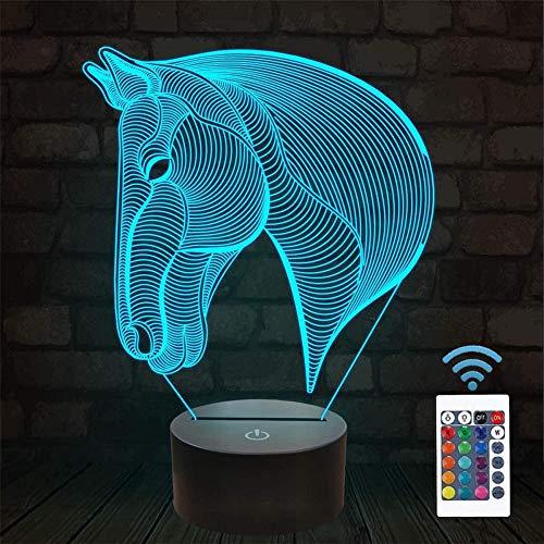 Luces de noche 3D para niños, cabeza de caballo, lámpara de mesita de noche, 16 colores cambiantes con control remoto, los mejores regalos de cumpleaños para niño bebé