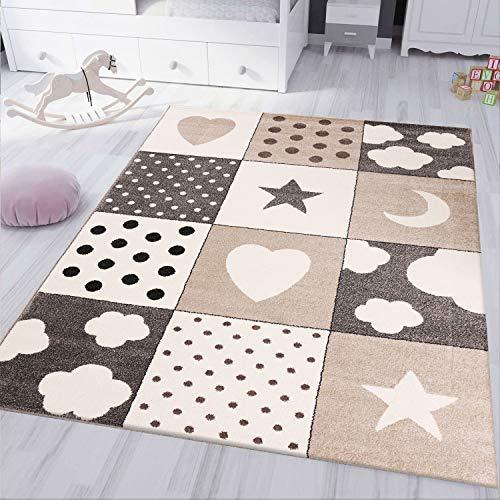 VIMODA Kinderteppich kinderzimmer Teppich Babyteppich mit Herz Stern Wolke Flauschig Beige, Maße:160x230 cm