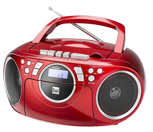 Kassettenradio mit CD • UKW-Radio • Boombox • CD-Player • Stereo Lautsprecher • AUX-Eingang • Netz- / Batteriebetrieb • Tragbar • Rot • Dual P 70