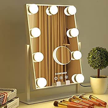 Hollywood Vanity Makeup Mirror with 9 Bulbs & Phone Holder