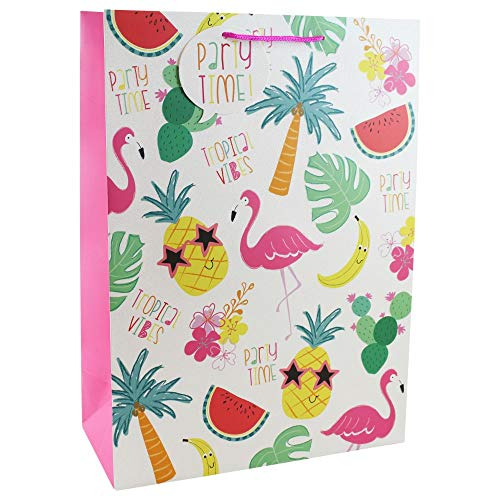 Clairefontaine 24720-1WC - Un sac cadeau XL grand soufflet 33x15x45,5cm 210g, Tropical