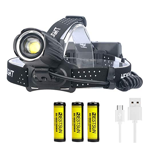 Lampada frontale XHP90 LED ultra luminosa Ricaricabile USB 10000 lumen Torcia frontale XHP90 LED 3 modalità con batteria 18650 Torcia frontale impermeabile Zoomable Head Light per escursionismo Pesca