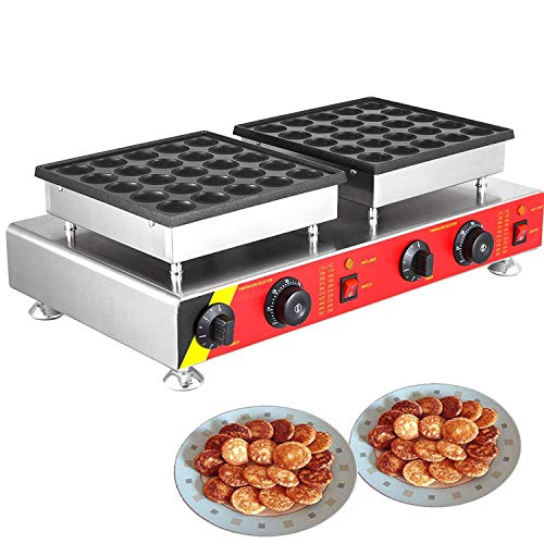 Mophorn Mini Dutch Pancake Baker 50PCS Commercial Electric Nonstick Waffle Maker Machine 1.8 Inches for Home and Restaurants