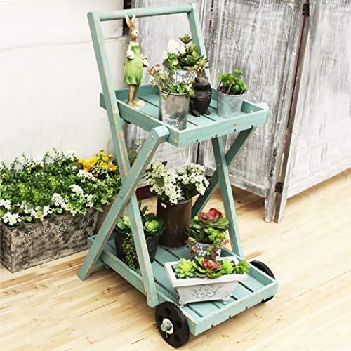 YINUO Plateau à fleurs en bois massif Vert aneth Étage multicouche Plancher charnu Balcon en bois Salon Espace intérieur