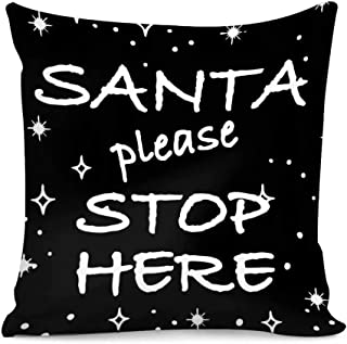 Dellukee Santa Please Stop Here Funny Print Pillow Covers Home Decor Throw Pillow Covers Sofa Cushion Cover 18 X 18