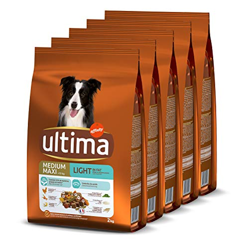 Ultima Croquettes pour Chien Medium-Maxi Adulte Light Poulet, Agneau, Riz, Légumes et Fruits - 5 x 2 kg - Total: 10 kg