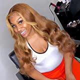 Highlight Lace Front Wig Human Hair Colored Honey Blonde Wig Human Hair 13x4 Pre Plucked Lace Front Wigs Human Hair Brown Body Wave Lace Frontal Wig 150% Density(20inch)