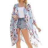YONHEE Cárdigan largo kimono con estampado floral, cubierta