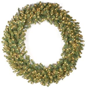 "National Tree 60 Inch ""Feel Real"" Downswept Douglas Fir Wreath with 300 Warm White LED Lights (PEDD8-320L-60W)"