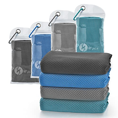 """U-pick 4 Packs Cooling Towel (40""""x 12""""),Ice Towel,Microfiber Towel,Soft Breathable Chilly Towel for Yoga,Sport,Gym,Workout,Camping,Fitness,Running,Workout & More Activities"""