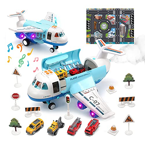 Toy Airplane Plane Toy with Smoke, Sound and Light, Fricton Powered Airplane with...