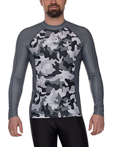 iQ-UV 6466054750-48S T-Shirt Lycra Homme Slim Manches Longues UV 230 Camouflage, Vêtement Anti-UV Homme Gris FR: S (Taille Fabricant: S (48))