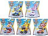 Paw Patrol Mighty Pups Super Paws True Metal Bundle of 5 Diecast Vehicles, Chase, Skye, Zuma, Rubble, Marshall, 1:55 Scale