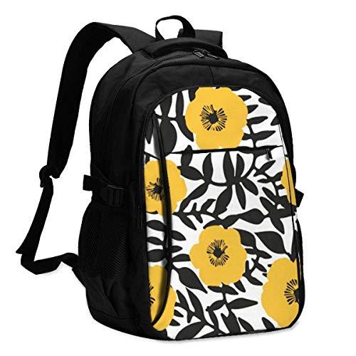 XCNGG Pequeñas Flores Amarillas Mochila para computadora portátil de Viaje Mochila Escolar universitaria Mochila Informal con Puerto de Carga USB