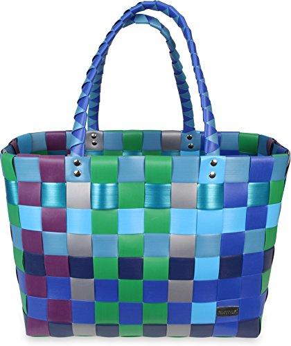 normani Einkaufskorb geflochten - wasserabweisend und robust Farbe Classic/Sky