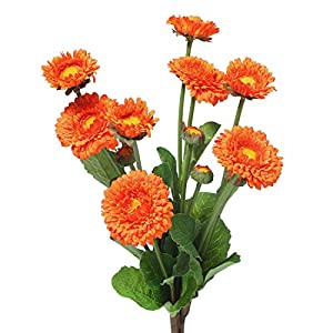 Anna Homey Decor 15 inch Orange Color Plastic Artificial Flower Fake Silk Calendula Flowers Real Touch Chrysanthemum Plants Bouquets for Home Wedding Office Decor, Pack of 5