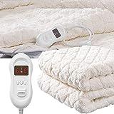 RUXMY Mantener Caliente Manta eléctrica, Funda de colchón con calefacción de Felpa para Cama  Manta de baño Lavable a máquina  Controles duales  Protección contra sobrecalentamiento  Manta de