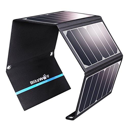 Cargador Panel Solar, BlitzWolf 28W/3.8A Puerto USB Dual Batería Panel Solar para iPhone, Samsung Galaxy, iPad Air/Mini, Cámara, Dispositivos Digitales (Más de 23.5% de Conversión de Energía Solar)