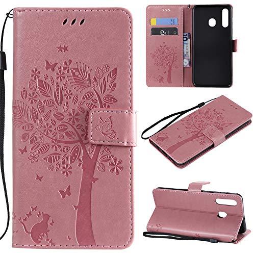 nancencen Hülle Kompatibel mit Samsung Galaxy A8S, Flip-Hülle Handytasche - Standfunktion Brieftasche & Kartenfächern - Baum & Katze - Pink