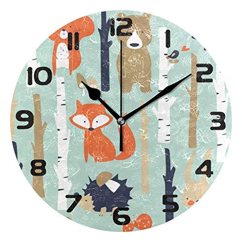Hunihuni Wanduhr süße Waldtiere, Fuchs-Muster, geräuschlos, Nicht tickend, für Schlafzimmer, Wohnzimmer, Büro, Dekoration