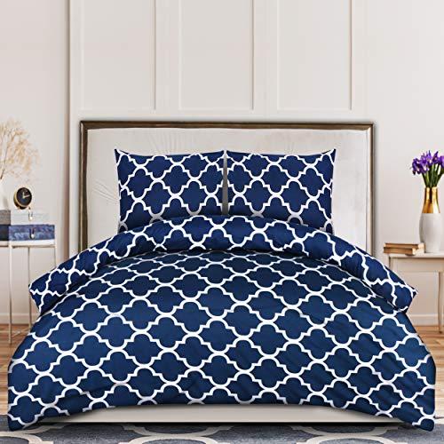Utopia Bedding Housse de Couette avec Taies d'oreiller - Parure de Lit 2 Personnes - Sets de Housse Couette en Microfibre (200x200cm + 2 x Taies Oreiller 80x80cm, Marine)