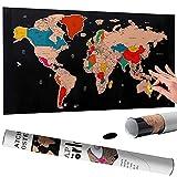 Bakaji Poster Mappamondo da Grattare Cartina Geografica Mappa del Mondo Scratch Off Dimensione 60 x 40 cm da Parete Muro Design Moderno Custodia Cilindro e Lima Idea Regalo (Nero)