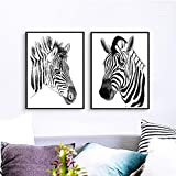 N / A Animal Art Print Poster Black and White Horse Zebra Wall Picture Canvas Painting Living Room Decoration Frameless