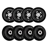 ZORA SKATES Flux 2 80mm Inline Skate Wheels 85A for Asphalt Inline Skating or Outdoor/Indoor Roller Hockey, Replacement Skate Wheels, 8 Pack with Bearings