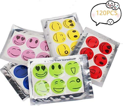 JYWJ Smiley Face Patchs Anti Moustiques,Anti-Moustiques Autocollants de Naturel Huile Essentielle pour Les Enfants Famille Camping Voyages et Les Activités de Plein Air (120pcs / 20 Sacs)