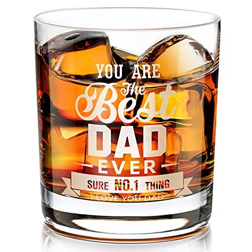 Vatertags Geschenk Whisky Gläser, Personalisierte Crystal Whiskeygläser Tumbler, Geschenk für Papa, Männer, Opa zum Father's Day, Geburtstag, Jubiläum, Geburtstag, Ruhestand - 300ML