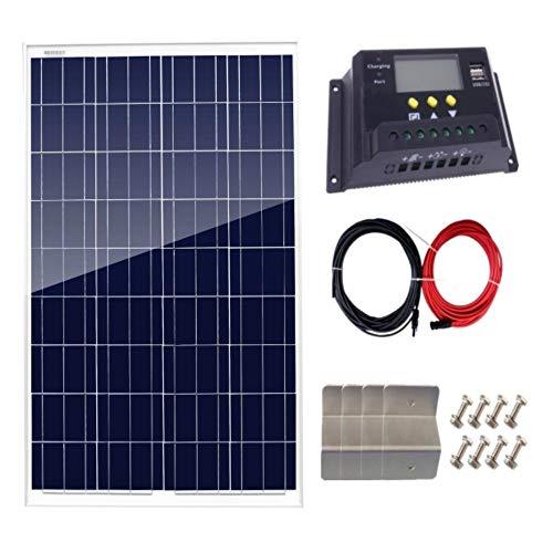 AUECOOR 100 Watt Solarpanel + 20 A LCD Display PWM Laderegler + Z-Halterungen + 5 m Solarkabel Adapter für Off-Grid Wohnmobil Boots-Kit