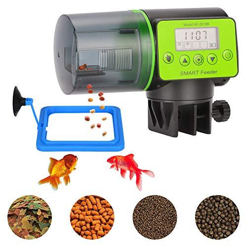 PETLOFT Alimentador Automático Peces, Programable Comedero Automático Peces Temporizador Acuario Alimentador de Tanque para Tortuga Pescado Dispensador 200ml con Anillo de Alimentación Flotante