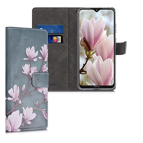 kwmobile Wallet Hülle kompatibel mit Nokia 5.3 - Hülle Kunstleder mit Kartenfächern Stand Magnolien Taupe Weiß Blaugrau