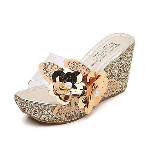 WENHUA Zapatos de Playa Zapatillas de baño, Zapatillas Moda Flor, cuñas Transparentes Sandalias-Dorado_36, Sandalias de Punta Descubierta