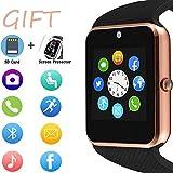 Smartwatch, touch screen, orologio sportivo da polso per Android, iOS, pedometro, con slot per scheda SIM, fotocamera, compatibile con Samsung, per uomini e donne
